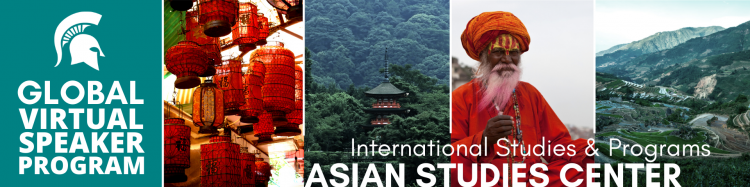 Virtual Global Speaker program with pictures of mountains and a man wearing a red shirt and turban